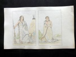 Catlin 1857 HCol North American Indian Print. Shoo-de-ga-cha, Smoke & Wife 87-8